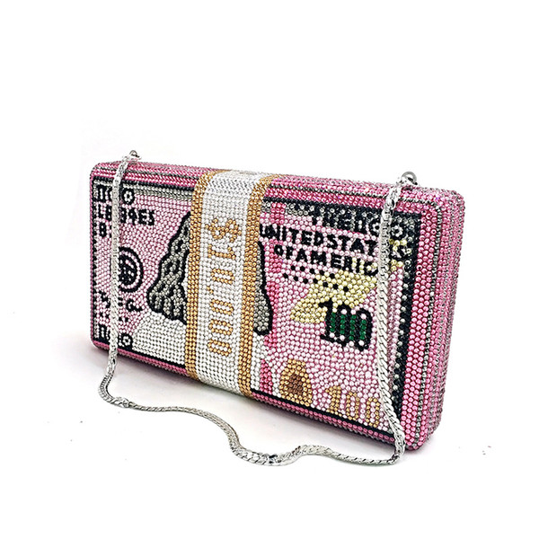 made to order bag famous luxuries purses women evening party crystal stack of cash rich clutches bill money purses (510579923) photo