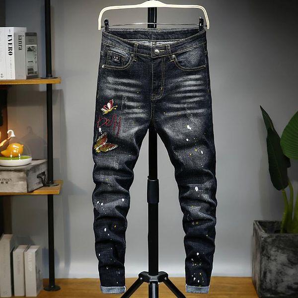 2020 новый бренд мода роскошные дизайнерские мужские джинсы balman квадратные джинсы мотоциклист черный высокая талия плотно прямая трубка мужские фото