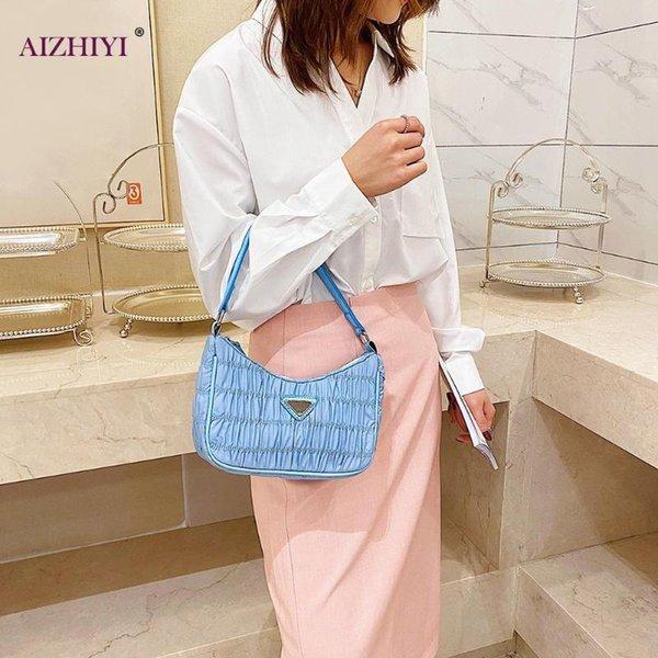 pure color shoulder bag female evening clutch shopping tote purses nylon women simple handbag retro evening clutch pleated (539588231) photo