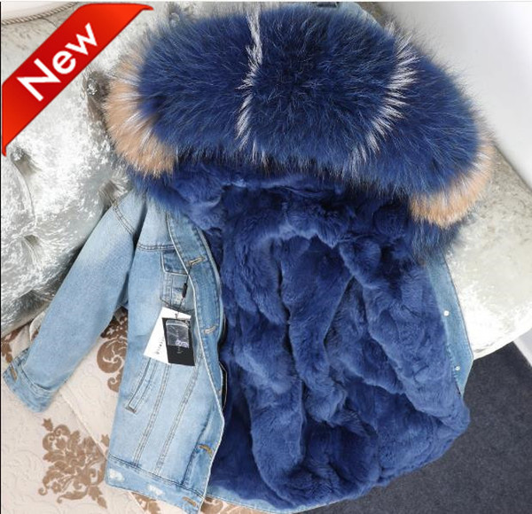 INS Fashion midi Long Jeans Jackets with Detachable real Rabbit fur and Raccoon Floral fur collar @cheapsneakers