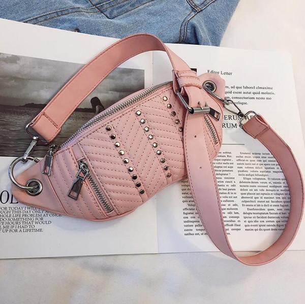 Дизайнерская поясная сумка дизайнерская роскошная женская сумка на плечо женская искусственная грудь сумка прохладная молния заклепки крест тела девушки сумки фото