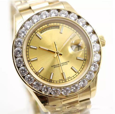 2018 моды мужских часы Big алмаз золото лица, полная из нержавеющей стали оригинального прибора ремешка Автоматического движения мужских часов фото
