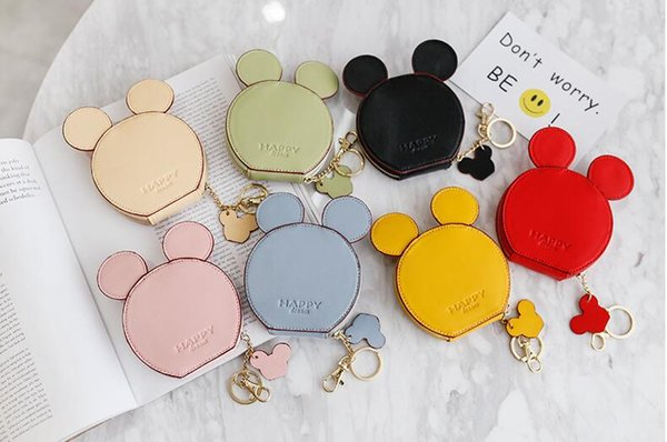 cute multifunction card bag ear letter happy dream coin purse round kids girl baby credit pu card holder purse (468059787) photo