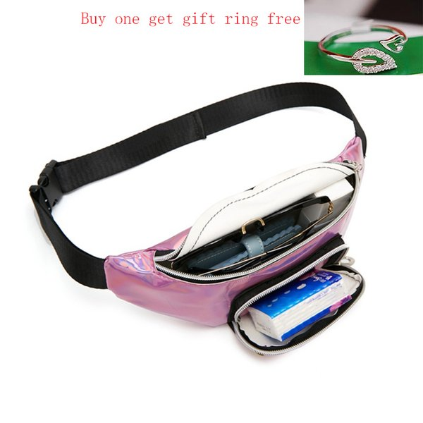 buy 1 get 2 holographic waist bags purse women fanny pack female belt bag banana waist packs laser chest phone pouch (488991862) photo