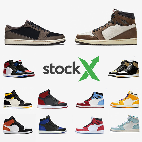 Nike Air Jordan Retro 1 Stock X Newest 1 High Travis Scott Low Fearless Mens Basketball shoes Spiderman 1s Banned Bred Toe Men Women Sports Designers фото