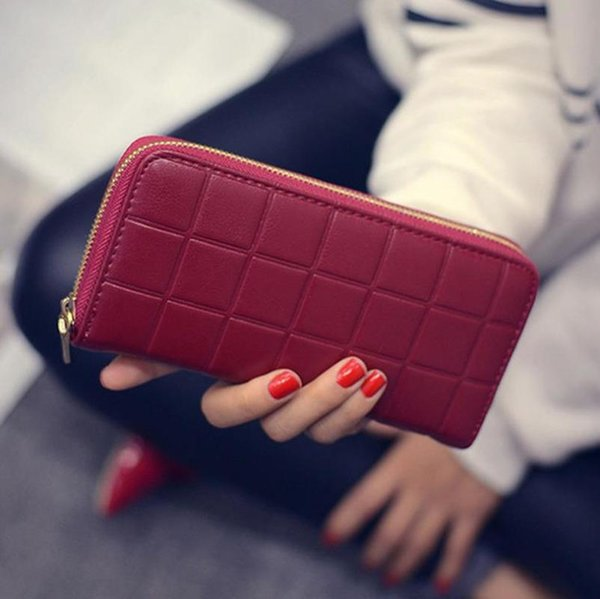 women leather plaid purse wallets long ladies colorful red clutch card holder coin bag female zipper girl leather purse (489318233) photo
