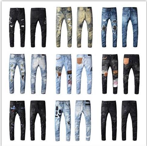 New Personality Fashion Embroidered pants Slightly stretchy Jeans Trendy Slim Hole Pants fashion high quality trousers