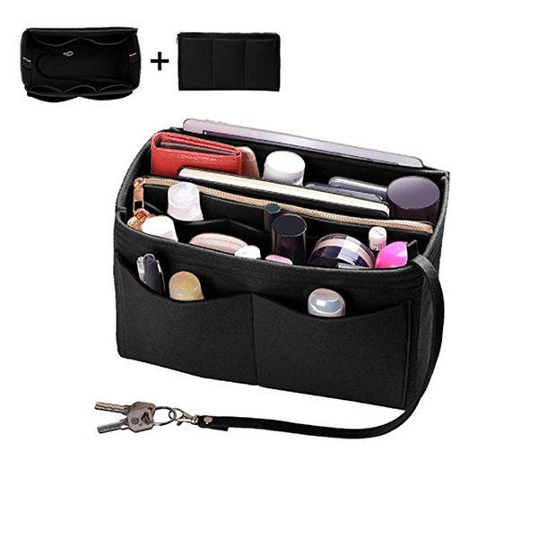 bmby-home storage bag purse organizer felt insert bag makeup organizer inner purse portable cosmetic bags storage tote xl (543702605) photo