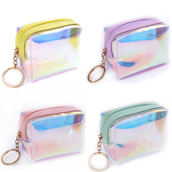 1 pc laser square jelly transparent coin purse women girl lady pvc mini wallet zipper card storage bag little star coin purse (482419551) photo