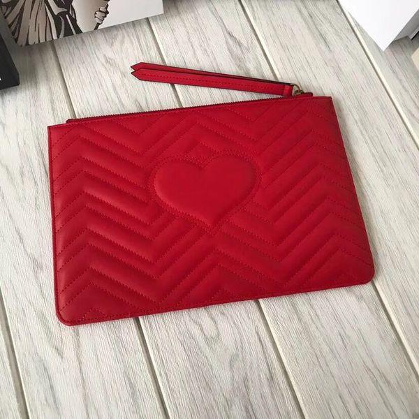 designer- hearts women makeup bag genuine leather ipad case lambskin classic cosmetic cases lady purse zipper purse hanger (502827105) photo