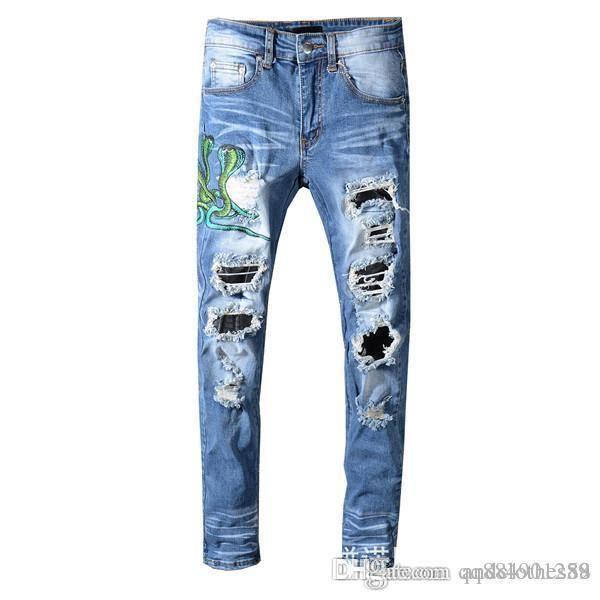 Luxury брюки Узкие джинсы Проблемные Ripped Байкер Жан Мужчины Женщины Тонкий Fit Мотоцикл Байкер джинсы хип-хоп мужские дизайнерские брюки фото