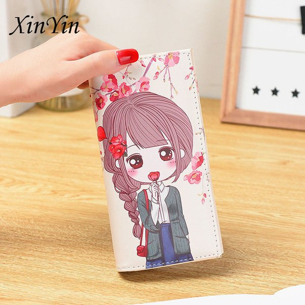 personality creative cartoon girl casual ladies purses women wallets and purses printed long cute wallet pu leather clutch (495479951) photo