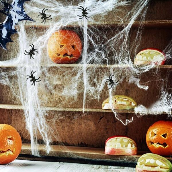 1 мешок Эластичный Паутина Паутина лямки Хэллоуин Prop + 4 Фальшивые Пауки фото
