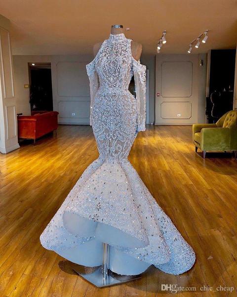 2020 Роскошный Русалка Потрясающий Африканский Дубай Свадебные Платья Высокая Шея