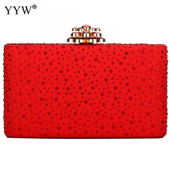 yyw red clutch bag 2019 new rhinestone party clutch purse fashion girl mini phone purse 2019 elegant evening clutches girls bag (483516385) photo