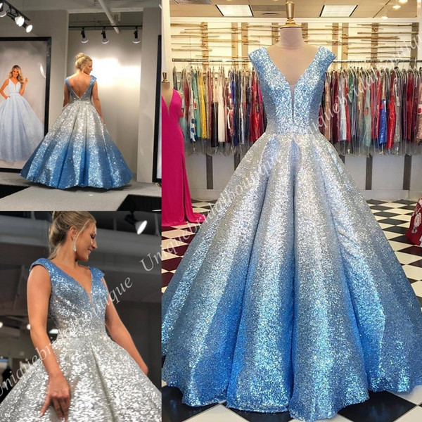 Ombre prom dre e 2019 ball gown v neck cap leeve quinceanera draped kirt backle formal party event gown mother daughter gown
