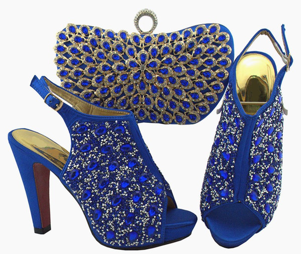 Мода королевских синих женщин насосы и сумка с разноцветными кристаллами украшения африканские туфли соответствуют сумочке для платья QSL005, каблук 12см фото