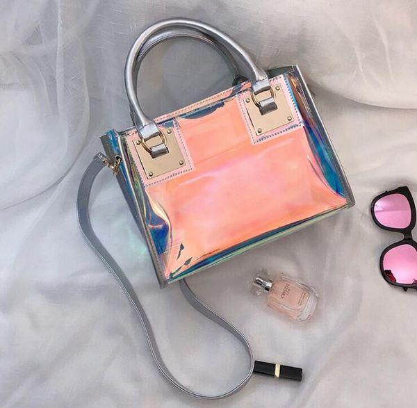 designer transparent hologram handbags ladies new fashion laser crossbody handbag pvc female big tote girl clear purses laser bag (513829612) photo
