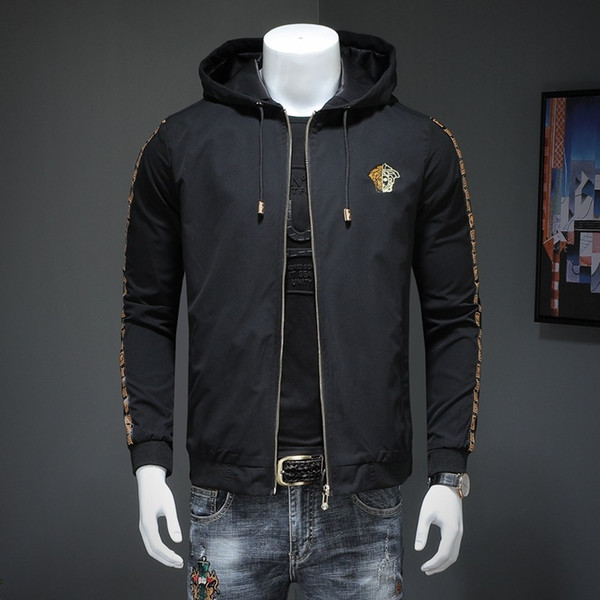 2019 pring and autumn new men de igner jacket luxury embroidery hooded zipper jacket plu ize m 6xl