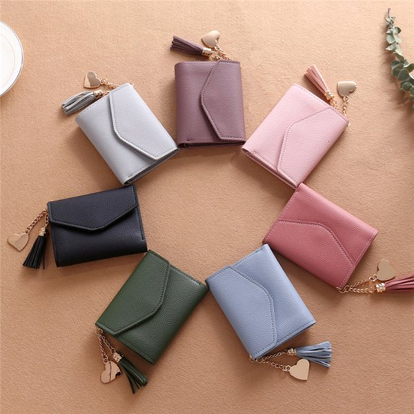 korera style fashion lady leather small card holder coin purses clutch purses short paragraph with tassel pendant 7 colors (483194402) photo