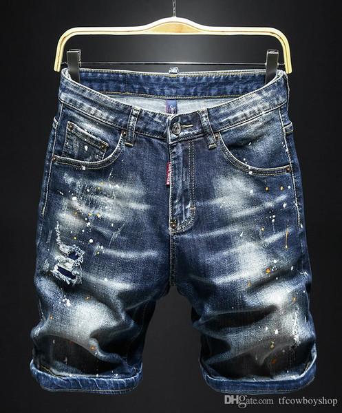 Мужские дизайнер летних шорт брюки 2020 роскошные джинсы-де-дизайнера налить Hommes длина колена разорвала рок возрождение пригонки велосипедист квадратных джинсы фото