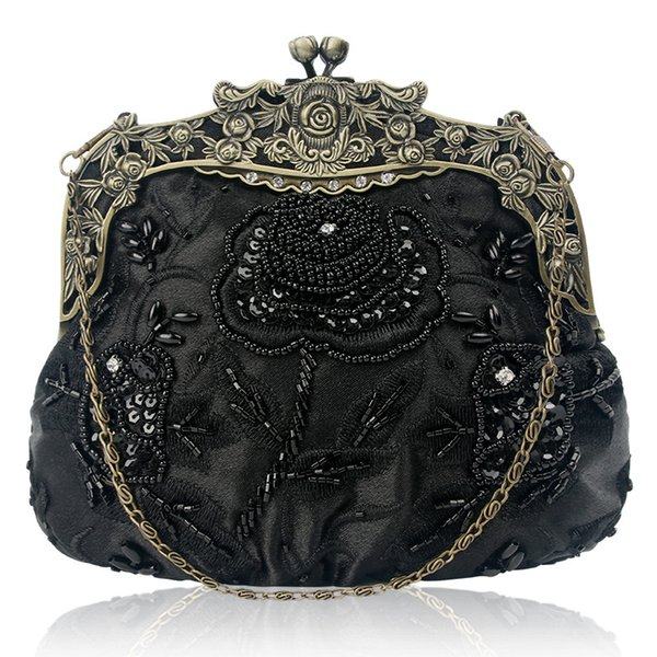 women's antique beaded party clutch bag vintage rose purse evening handbag (505998513) photo