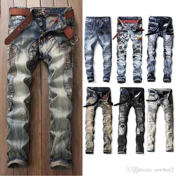 Новый топ мужские разорвал байкер джинсы мотоциклов Slim-подходят байкер джинсы для мужчин мода дизайнерские джинсы 2020 дизельный тощий роскошные хорошее качество фото