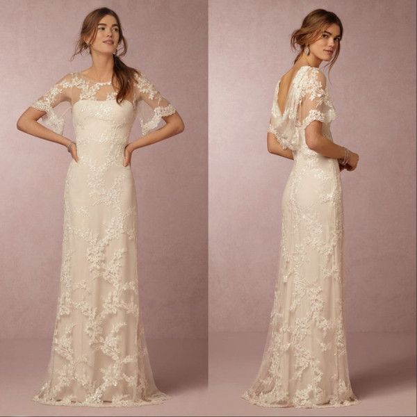 2019 Lace Wedding Dresses with Short Sleeves Bridal Gowns Cheap New Arrival Cowl Back Illusion Boatneck Column A Line Beach Wedding Gowns