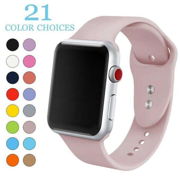 Fa hion 21 color port ilicone watch band breathable replacement trap for iwatch apple erie 1 2 3 4 trap 42 44mm 38 40mm