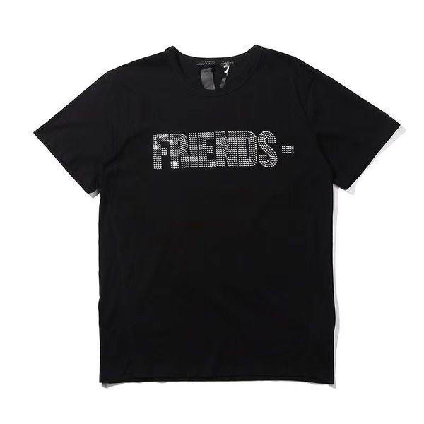 Vlone Womens T Shirt Tees Hip Hop Womens Tops Vlone Friends Cotton Short Sleeve Big V Logo Women Mens T shirt