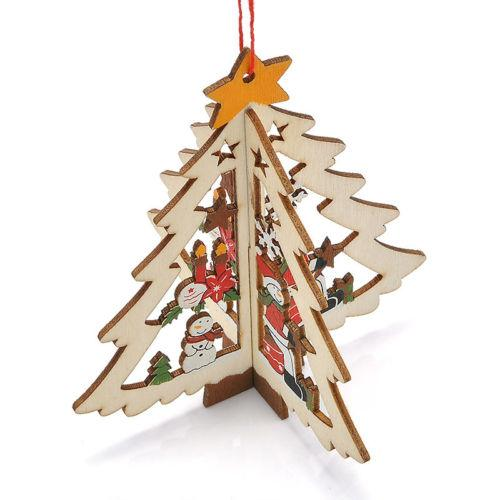 3d wooden christmas tree decoration xmas tree pendants hanging home party decoration