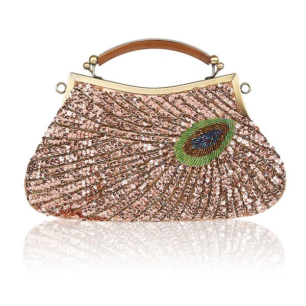 vintage women clutches purse green evening bags peacock pattern sequins beaded bridal clutch bag purse mini handbag (505997974) photo