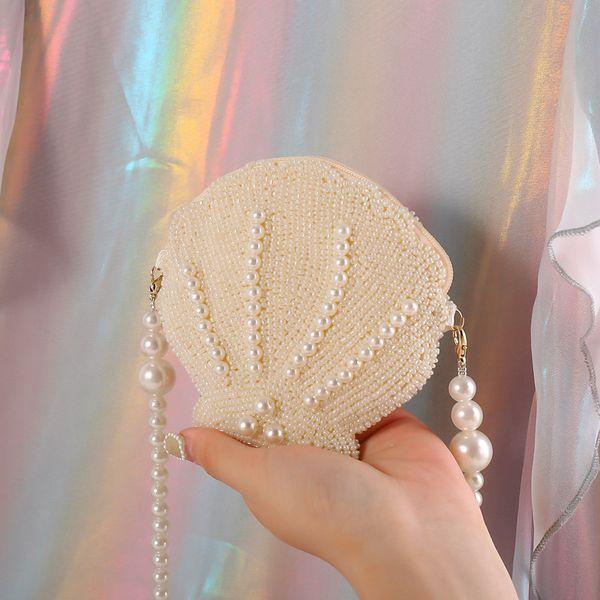 mini girls shell shape pearl chain bag women beads messenger bag handmade money purses sequins feminia handbags vintage (523114713) photo