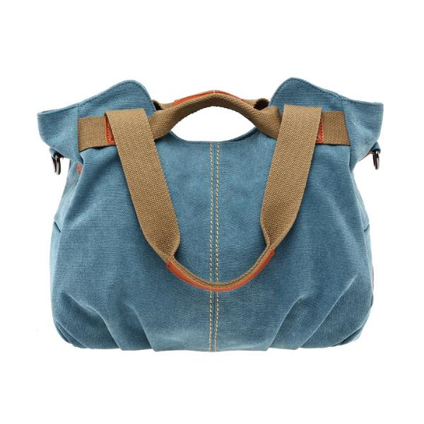women's ladies casual vintage hobo canvas daily purse handle shoulder shopper handbag(blue) (526809678) photo