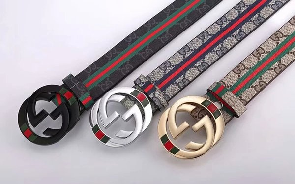 Famous Brand belt 2018 NEW HOT Good Quality Genuine Leather Men's Belts Swiss style Grid Smooth Buckle Cowhide Men Belts Accessorie