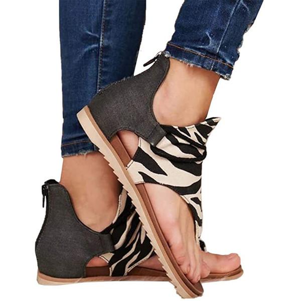 Floopi сандалии для женщин Симпатичные открытым носком Широкий эластичный дизайн Летние сандалии Comfy Кожезаменитель лодыжки ремни W / Foam Flat Sole Память 02 фото