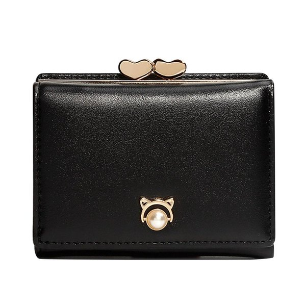 women trifold short wallet double heart kiss lock coin purse (447062198) photo