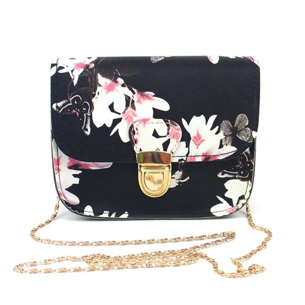 bolsa feminina women butterfly flower printing chains pu leather messenger bag girl elegant shoulder bag fashion purse 2019 (481478777) photo