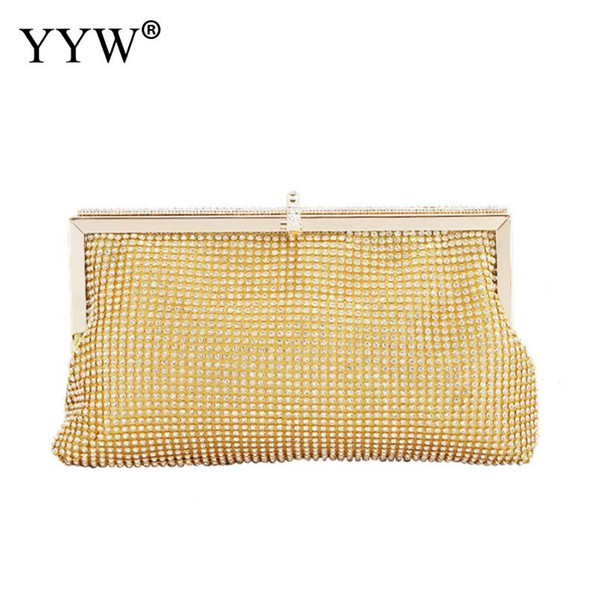 lady girl bride evening party clutch bag gold fashion women bridesmaid wedding purse for prom cocktail party wedding engagement (483516389) photo