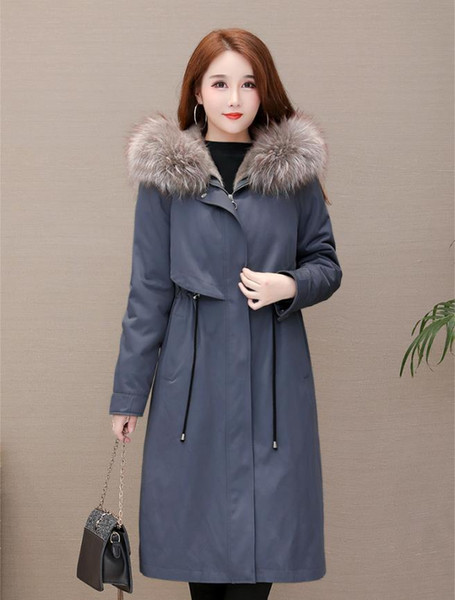 Women Winter Jacket Ladies Real Raccoon Fur Collar Duck Down Inside Warm Coat Femme With All The Tag Slim Fit 19