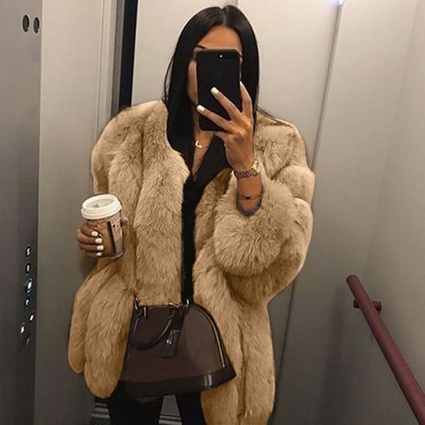 ladies faux fur coats winter 2019 faux fur jacket Women Plus Size Short Coat Warm Furry Jacket Long Sleeve Outerwear#g3