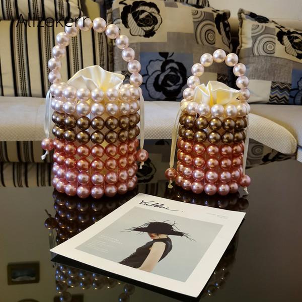 colour pearl evening bag women handmade pearl beaded small designer party purses ladies cute handbag wedding party (532781757) photo
