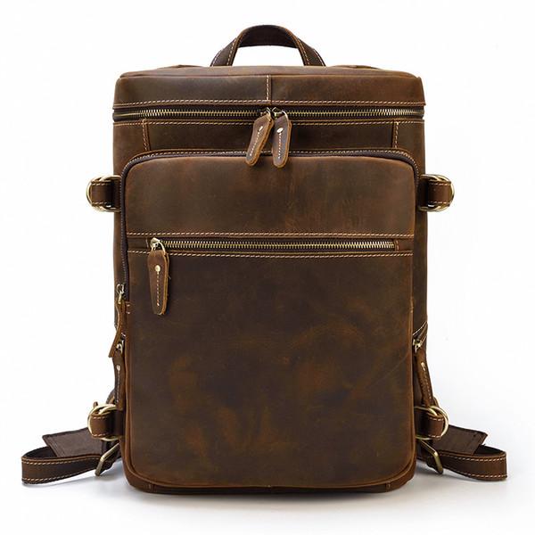 couro mochila homens crazy horse couro viagem backpack purse bagpack (526307211) photo