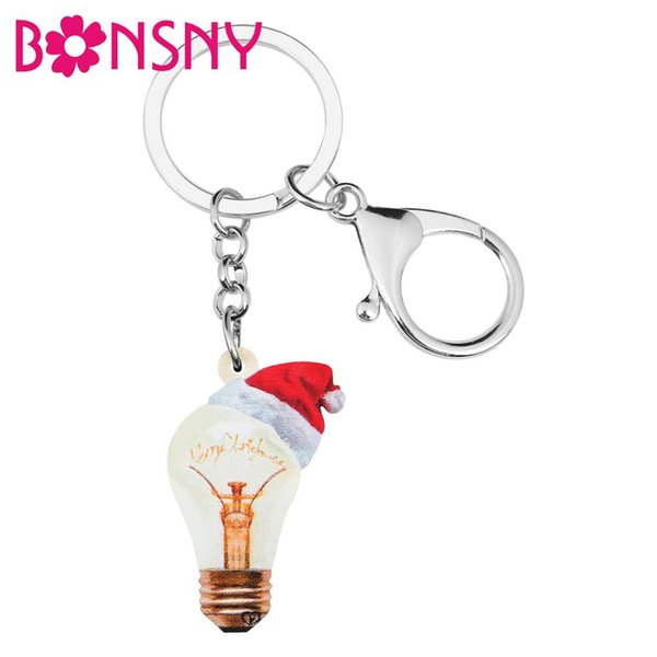 acrylic christmas hat light bulb key chains rings car purse wallet purse decoration keychains jewelry for women girl lady (504781665) photo