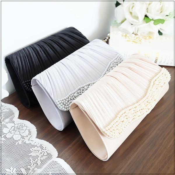2020 new elegant ladies fashion japanese and korean banquet bag wrinkled handmade beaded clutch purses and handbags (528875582) photo
