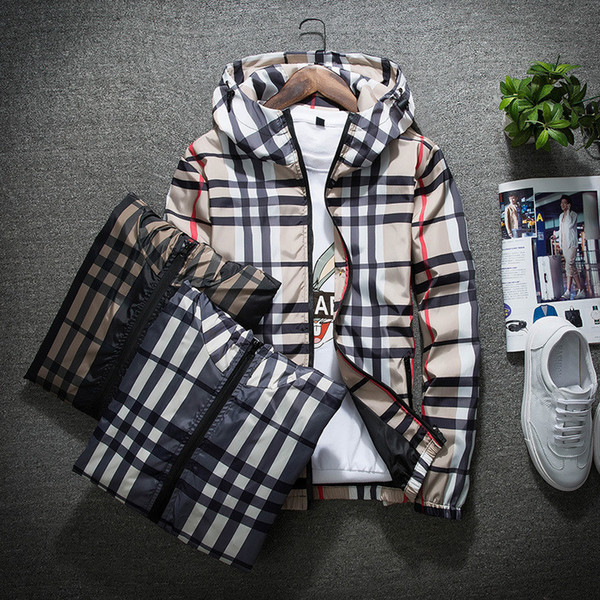 Fa hion jacket ca ual windbreaker long leeve plu ize m 5xl men jacket zipper pocket men hoodie coat plaid jacket