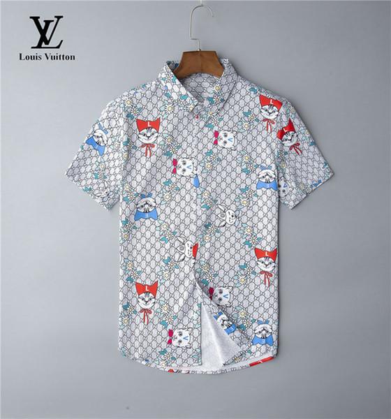 Luxury mens designer short sleeve shirts firmate business dress shirts fashion casual brand shirt print slim shirt homme button up ds39 фото
