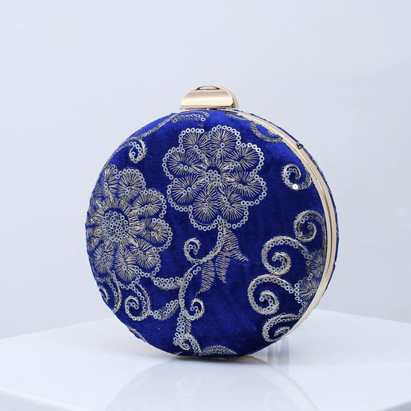 velour clutch bag 2019 new fashion girl embroidered sequined flower round evening purse with chain crossbody bags bolsa feminina (467128005) photo