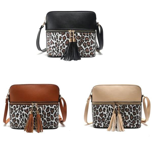 women girl fashion leopard pattern handbag shoulder bag with tassel pu leather satchel messenger tote purse (548405426) photo