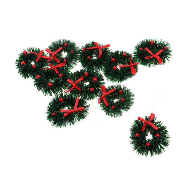1:12 Dollhouse Accessories Christmas Decoration Holiday Wreath, 10 Pieces Garland With Bowknot, 4cm, Green & Red